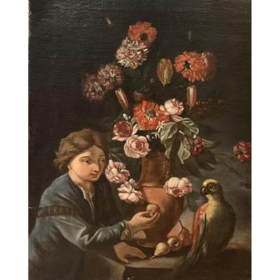 Still Life With Parrot And A Boy. End Of The 17th Century