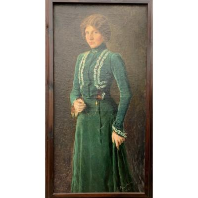 Portrait Of A Young Woman In A Green Velvet Dress.