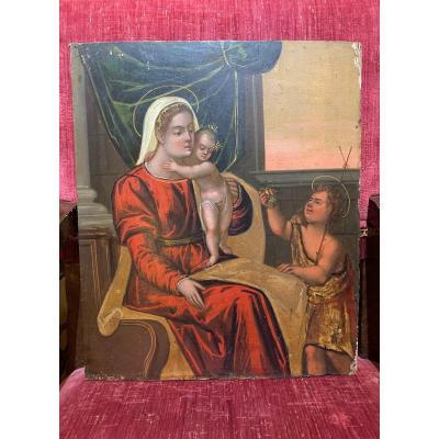 Veneto-cretan School. Madonna With Jesus And Saint John. End Of The XVI Century