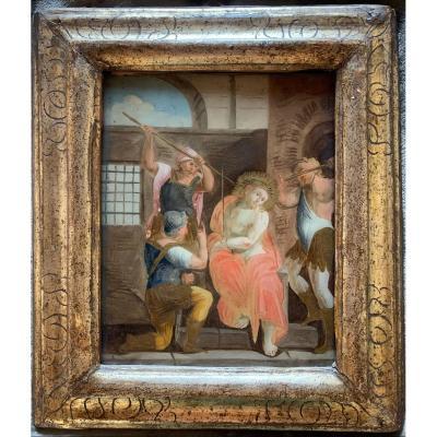 Peint Sur Le Verre.  Italie.  Début Du XVIIe Siècle