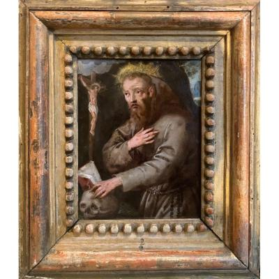 Painting On Copper. Tuscany School. Saint Francis In Meditation. Around 1600.
