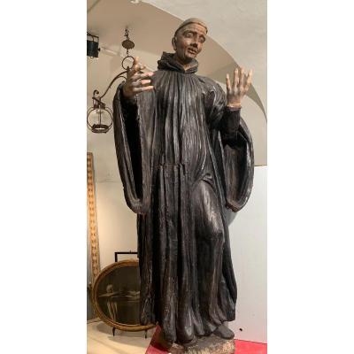Prédicateur Moine.  Sculpture Du 17ème Siècle.  Italie Du Sud.