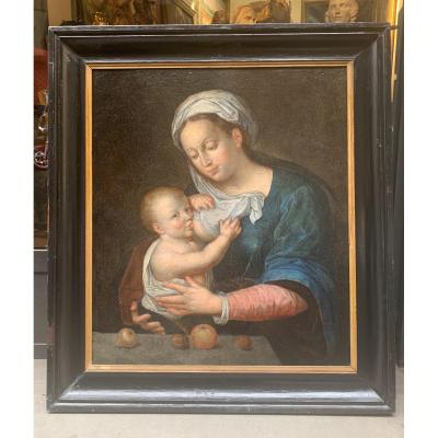 The Virgin And The Breastfeeding Child. Late 16th Early 17th Century. Follower Of Joos Van Cleeve.