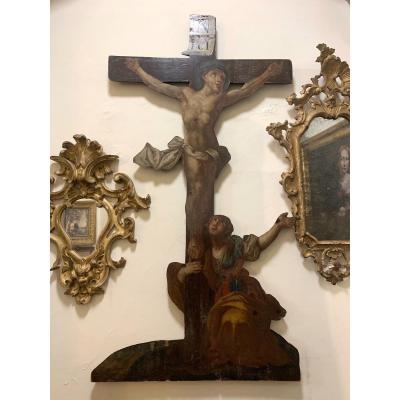 Crucifix Avec Magdalene.  Peinture à l'Huile Sur Bois.  XVIII Siècle.
