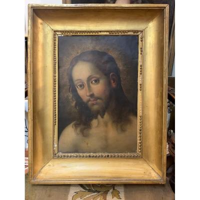 The Head Of Christ. Large Oil On Copper Painting. 16/17 Century