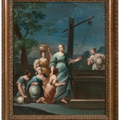 Sephora and Jetro&#39;s daughters at the well.<br /> <br /> French school.<br /> 17th century.<br /> Painting signed lower right: &ldquo;Lafosse. Pinxit 1663 &quot;.<br /> The painting represents 6 daughters of Jetro around a well.<br /> In the center, the figure of a woman, Sephora, the future wife of Moses, who will not be accepted by the Jewish people because she is foreign, or perhaps because she is envied for her exceptional beauty.<br /> According to the biblical account, the priest Jetro of Midian had seven daughters.<br /> They came to draw water to fill the troughs and give their father&#39;s flock to drink. The women hold in their hands the beautiful old-fashioned jugs, which are often seen on tapestries from the same period as the painting.<br /> The paint has colors that have been very well preserved, with shades of bright blue.<br /> The way of painting is very free, with broad and very expressive lines.