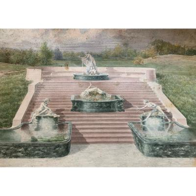 Metafisic garden. Watercolor. Around 1925<br /> Art Deco watercolor with fountains and stairs in a garden. Probably a sketch for the architectural garden project of an Italian villa.<br /> Provenance: Roman family collection.<br /> <br /> Beautiful color combination: green and water marble with dirty pink stone rose from the stairs.<br /> <br /> Design of statues close to Art Deco projects of around 1925.<br /> <br /> Good state of conservation. Minor dots/signs of humidity on the paper.<br /> <br /> Medium: watercolor on paper.<br /> <br /> Size: 55cm x 35cm