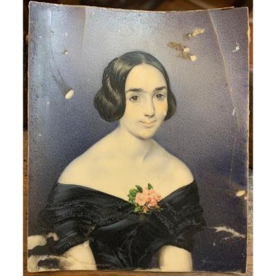 Interesting miniature portrait of a young woman. &nbsp;Signed <em>Gaglier</em> lower right. &nbsp;<br /> Around 1830-40. &nbsp;<br /> Painter born in Florence in 1808, studied with Pietro Benvenuti at the Accademi delle Belle arti in Florence. &nbsp;Average conditions but with crack on the right (see photos).