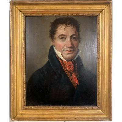 Portrait Of A Man With Red Scarf. Circa 1815