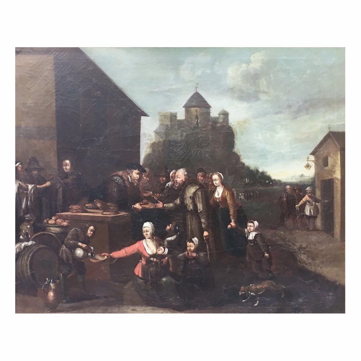 Peinture Flamand Du XVIIe Siècle Huile Sur Toile Représentant La 'charité'