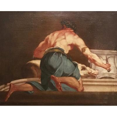 Late 18th Century Italian Oil On Canvas Painting With Mythological Subject