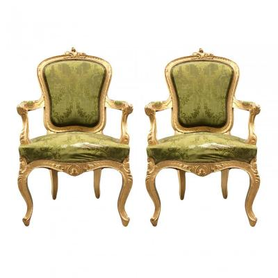 Pair Of Upholstered Giltwood Chairs