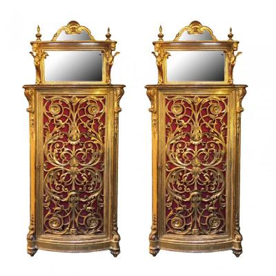 Pair Of Italian 18th Century Carved And Giltwood Cabinets
