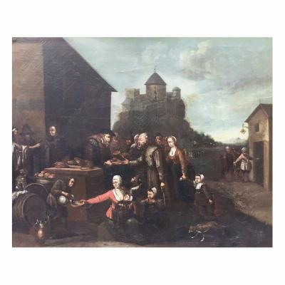 XVIIth Century Flamand Oil On Canvas Painting Depicting 'charity'
