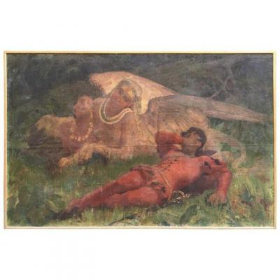 19th Century Oil On Canvas Painting  Representing A