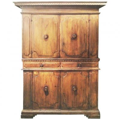 17th Century Italian Double Body Cabinet In Walnut Wood