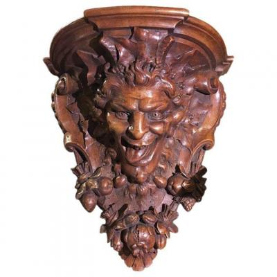 19th Century Italian Carved Walnut Shelf Representing A Satyr