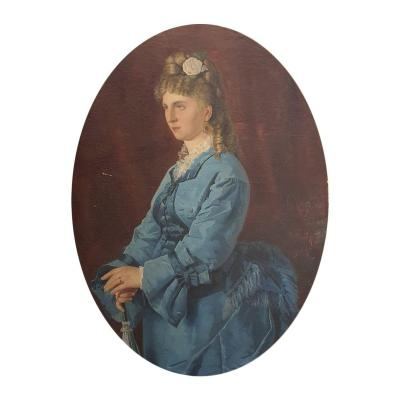 19th Century Italian Portrait Of A Lady In A Giltwood Frame