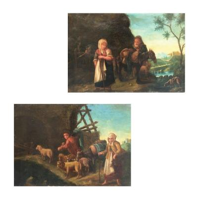 18th Century Italian Pair Of Oil On Canvas Paintings Representing Landscapes With Figures