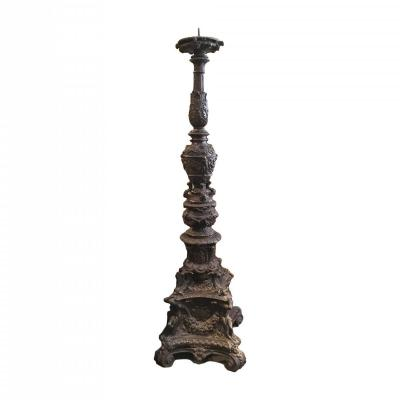 Early 20th Century Large Italian Candlestick In Terracotta By The Signa Manufactury