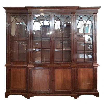 Large Italian Library In Mahogany Wood