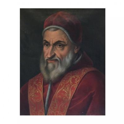 Oil  On Canvas Painting Representing The Portrait Of Pope Sixtus V