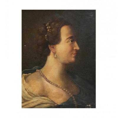 Oil On Canvas Painting Representing  Portrait Of A Lady