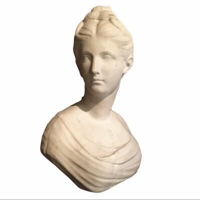 White Marble Sculpture Representing The Portrait Of Diana By Jean-antoine Houdon