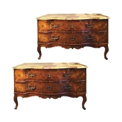 Pair Of Venetian Chests Of Drawers With Walnut Veneer And Marble Top In  Broccatello Di Siena
