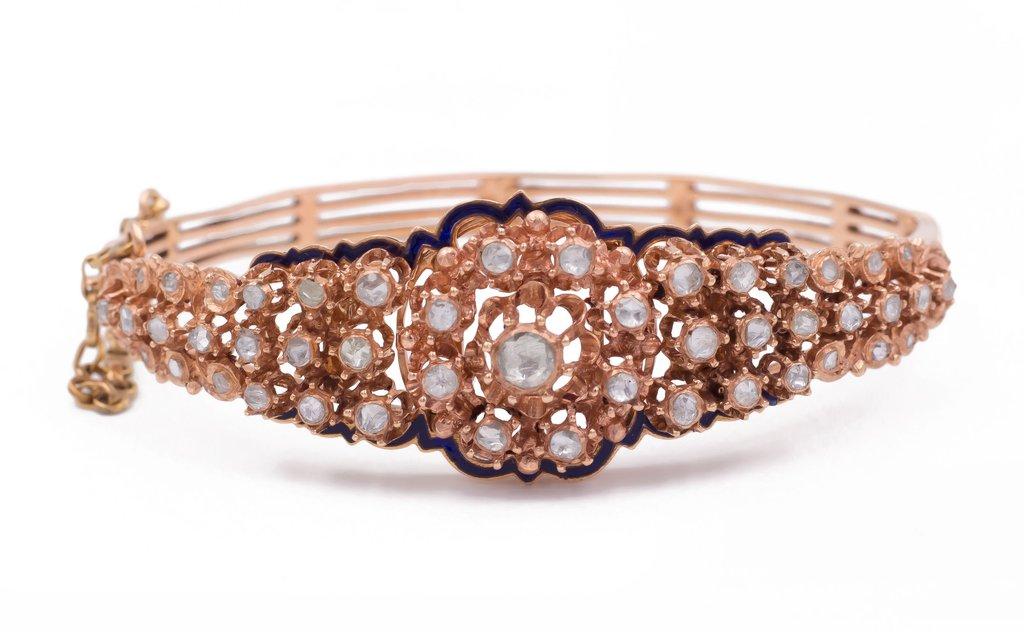 Bracelet En Or 18 Carats Avec Diamants Et émail