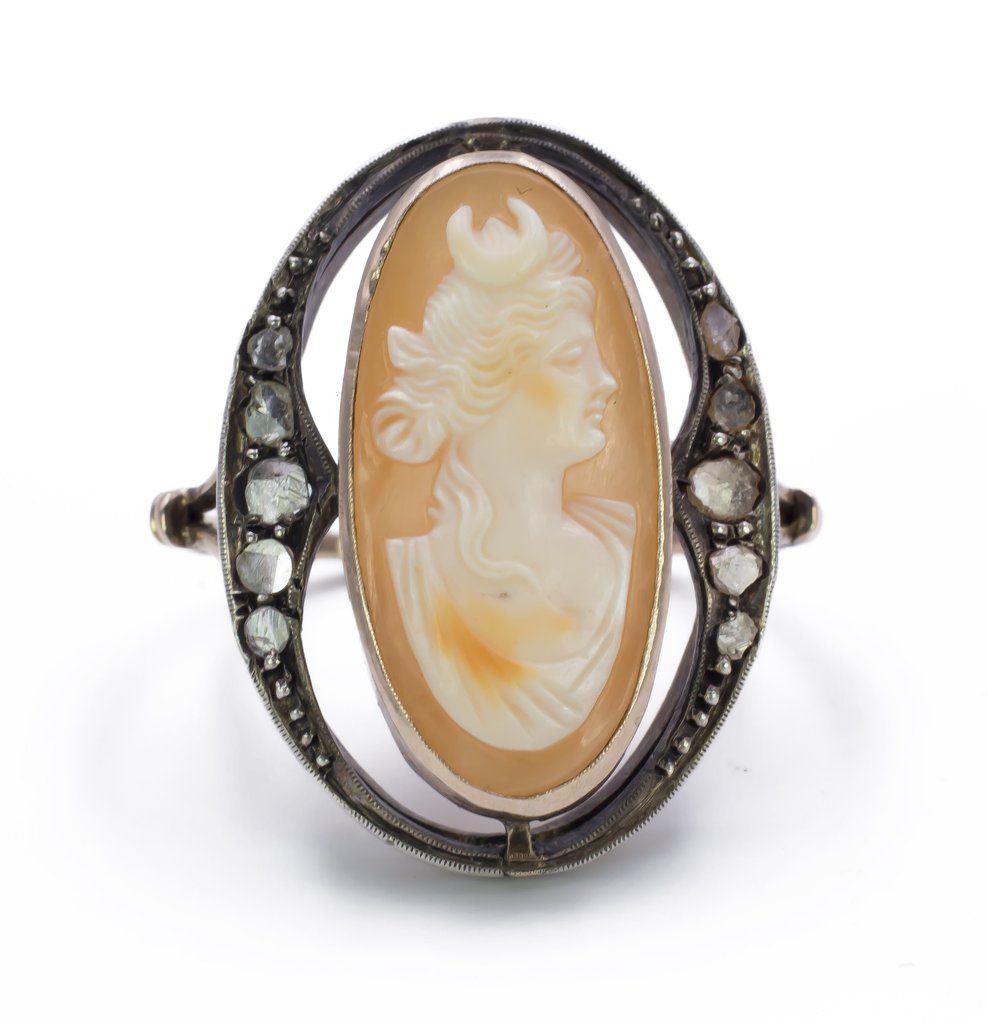 Bague En Or, Argent, Diamants Et Camèe - Art Noveau