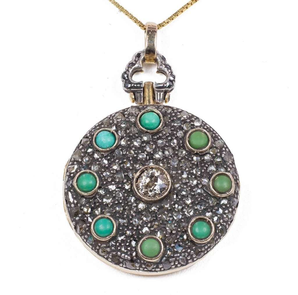 Antique 18k Gold And Silver Photo Pendant With Turquoise And Diamonds, 1940