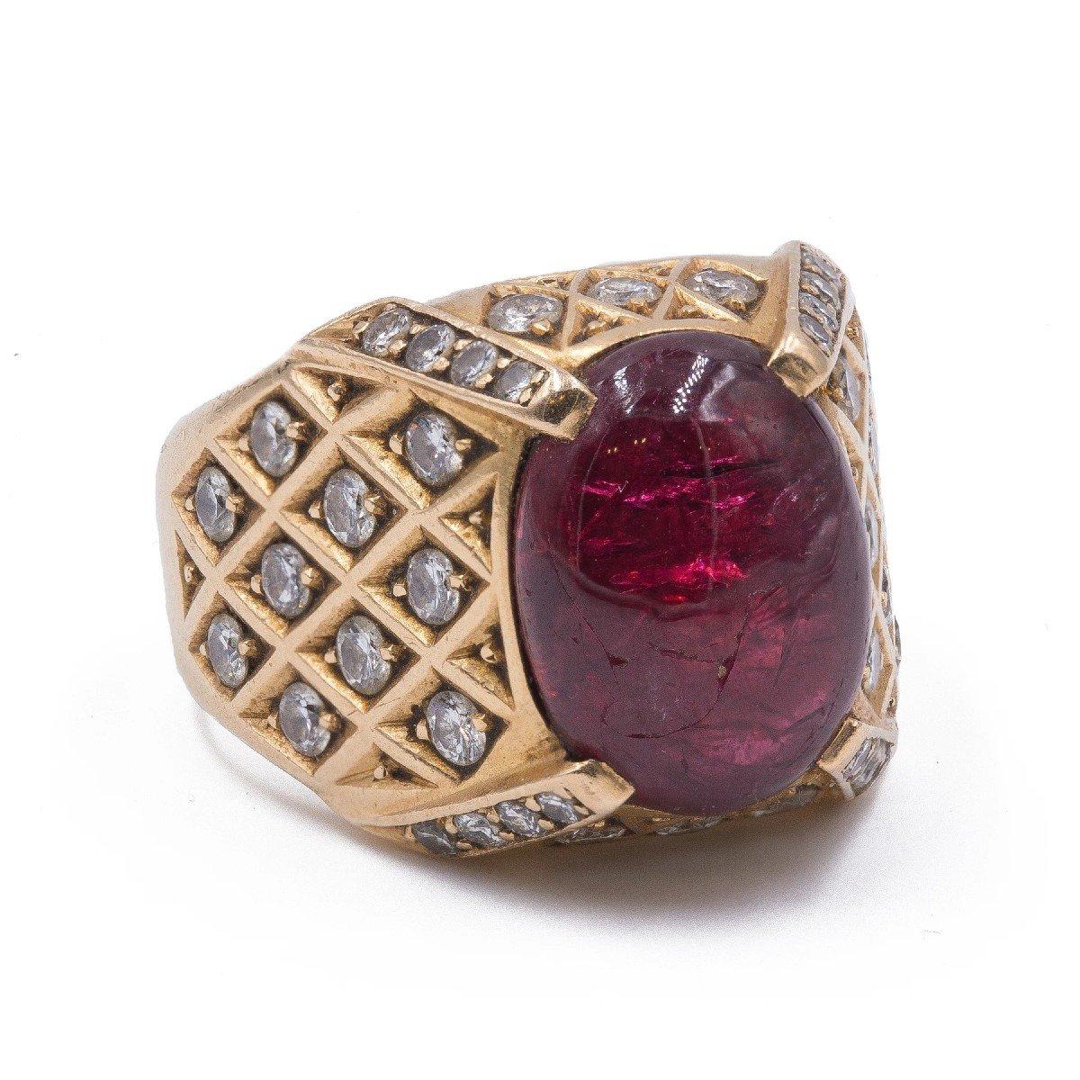 Bague Pour Homme Vintage En Or 18 K Avec Rubis Cabochon Et Diamants, 60