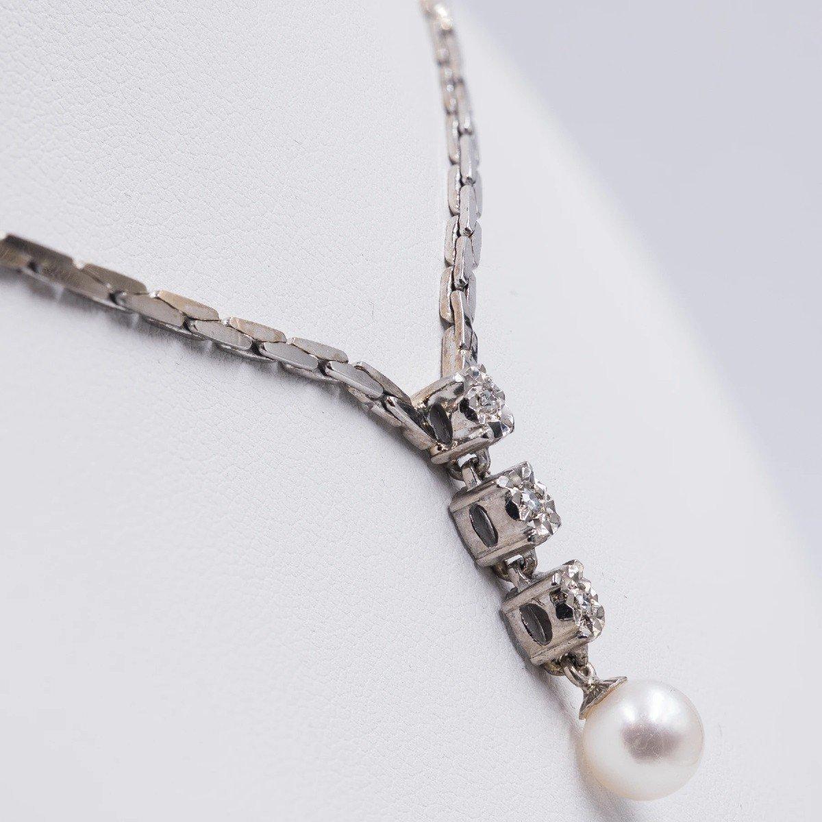 Collier Vintage En Or Blanc 14 Ct Avec 3 Diamants (0.15 Ct) Et Perle, AnnÉes 80-photo-2