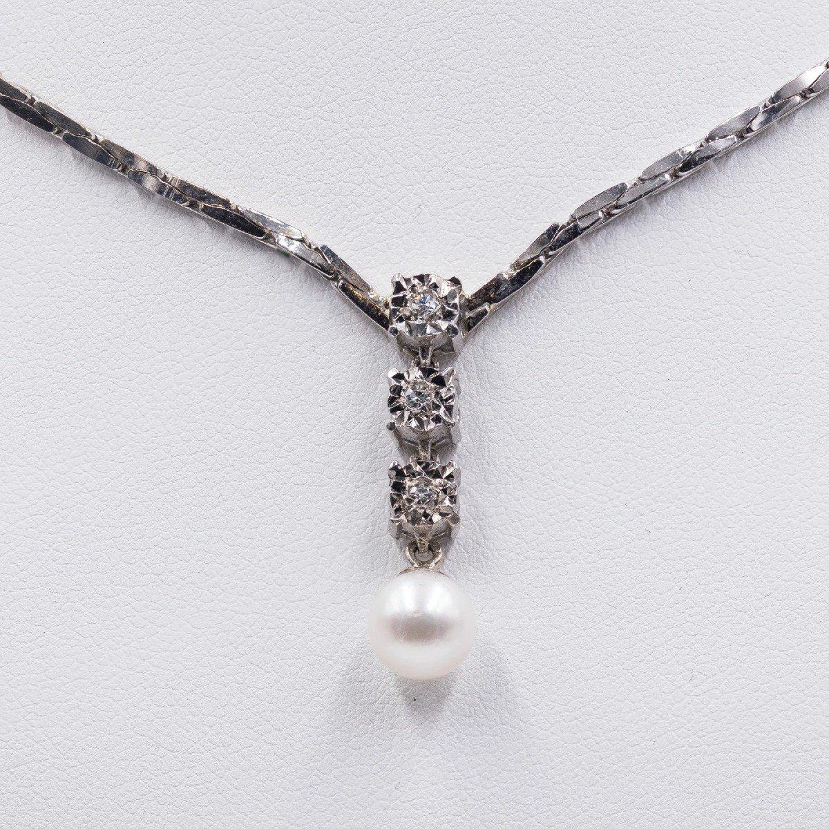 Collier Vintage En Or Blanc 14 Ct Avec 3 Diamants (0.15 Ct) Et Perle, AnnÉes 80-photo-3