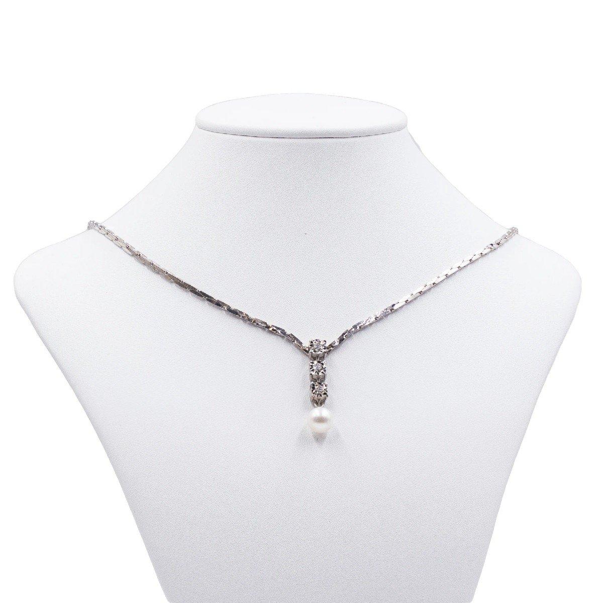 Collier Vintage En Or Blanc 14 Ct Avec 3 Diamants (0.15 Ct) Et Perle, AnnÉes 80