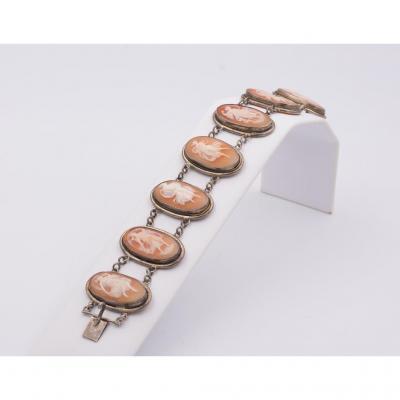 Bracelet En Argent Avec Camees Art Noveau