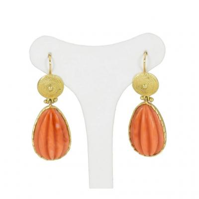 Earrings 18k Gold And Coral