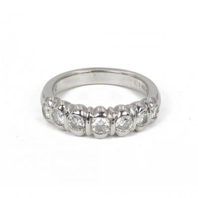White Gold Ring Signed By Damiani With Diamonds (0.75 Ct)