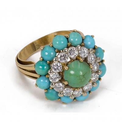 Bague En Or 18 K Avec Des Diamants  (environ 1,2 Ct) Et Une Turquoise Vers 1960