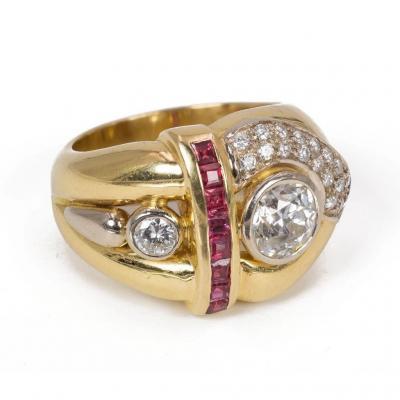 Bague En Or 18k Avec Diamant Central (1ct) Et Latéral (0,15ct), Diamants Et Rubis Pavés,