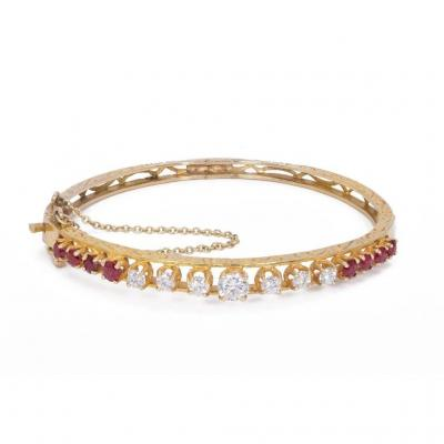 Gold Bracelet With Diamonds (1.4 Ct) And Ruby