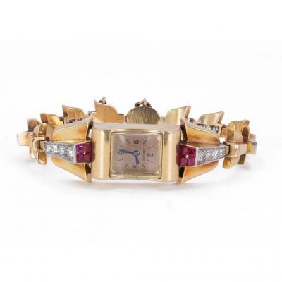 Montre-bracelet Lady Jaeger En Or 18k Avec Diamants (1,80ct) Et Rubis, Années 30