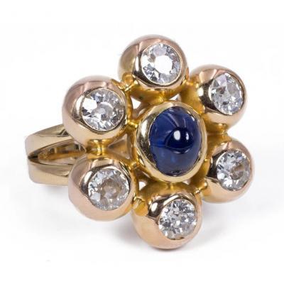 Bague Vintage En Or 18k Avec Environ 3ct De Diamants Et Cabochon De Saphir, Années 80