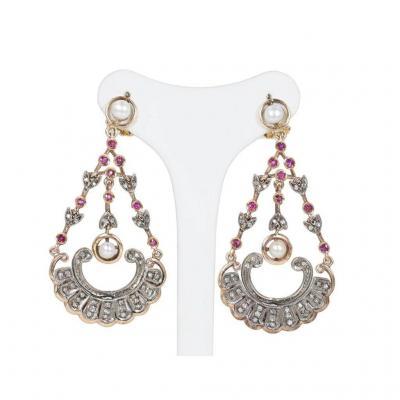Boucles d'Oreilles De Style Antique En Or 14k Et Argent Avec Diamants, Rubis Et Perles