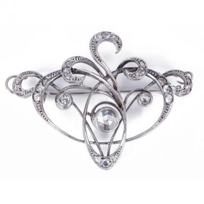 Broche Ancienne Art Nouveau En Or 18 Carats Avec Diamants Couronnés Taille Rose, 1910
