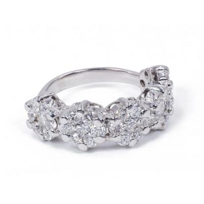 Bague Riviera En Or 18 Carats Avec Diamants Taille Brillant ( 2,56 Ct Au Total )