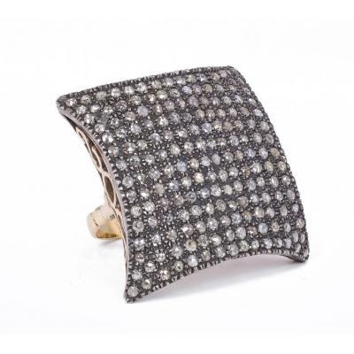 Antique Ring In 18k Gold And Silver With Rose Diamond Cut Diamonds, 1940s