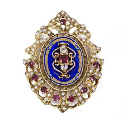 Vintage 18k Gold Brooch With Enamel, Glass Paste And Pearls