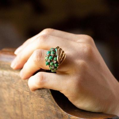 Vintage Ring In 18k Gold With Turquoise And Diamonds, 1950s
